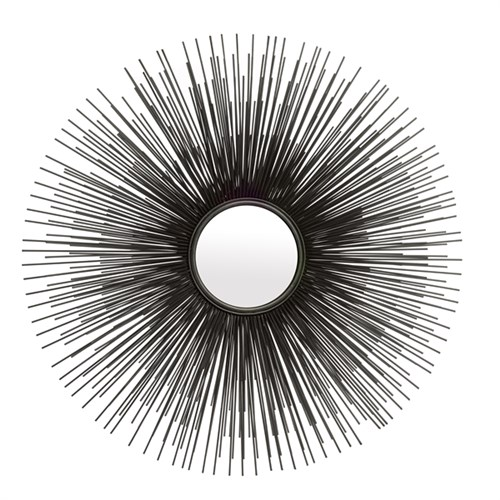 large 3 dimensional 3D starburst mirror in antique zinc grey/black finish