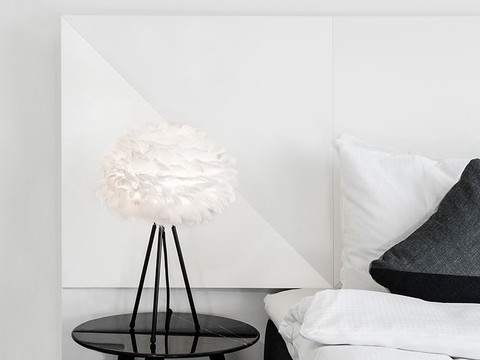 White Eos mini goose feather lampshade in black tripod table lamp stand