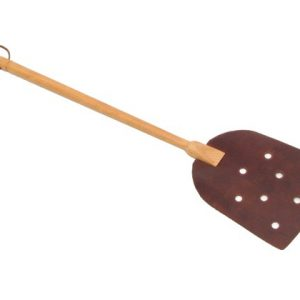 leather and timber fly swatter