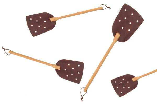 fly swatter in wood and leather