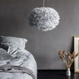 Eos large goose feather lampshade in pale grey as pendant. Can also be used with table or floor