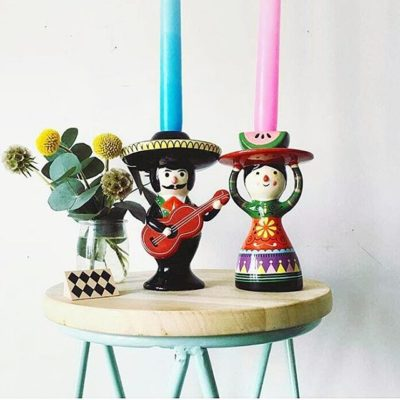 Mariachi and Senorita ceramic candle sticks