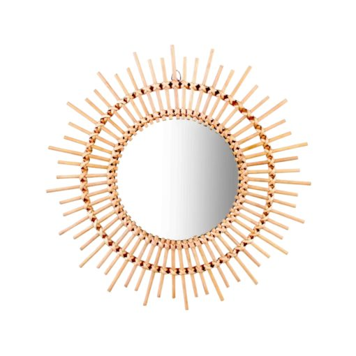 Rattan and Bamboo Collection Round mirror