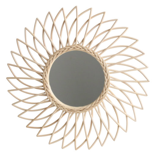 Rattan and bamboo mirror - star