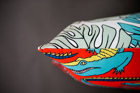 Red Crocs cushion with monster Delicious leaves