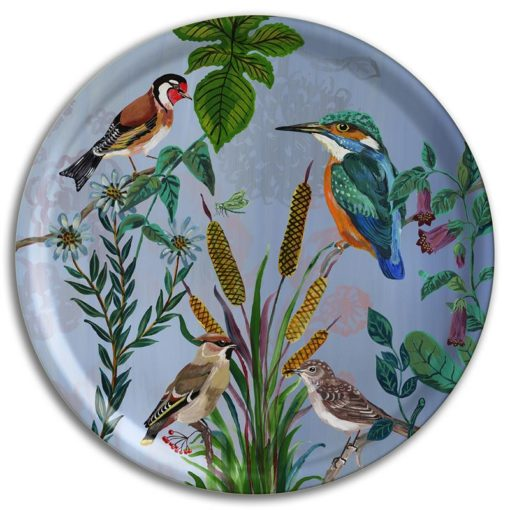 Tray large Kingfisher round serving tray
