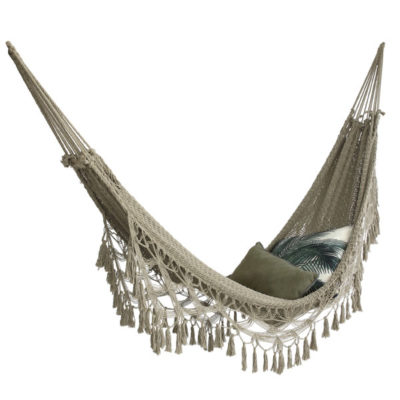 Hand Knotted Hammock in army green cotton with black hanging kit