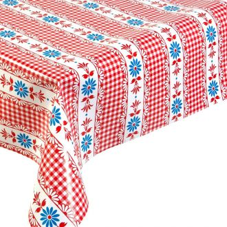 Hermoso Floral Red and blue oilcloth from Mexico
