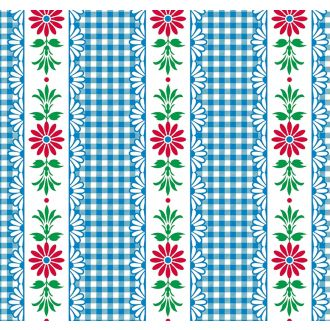 Hermoso Red flowers and blue check oilcloth from Mexico