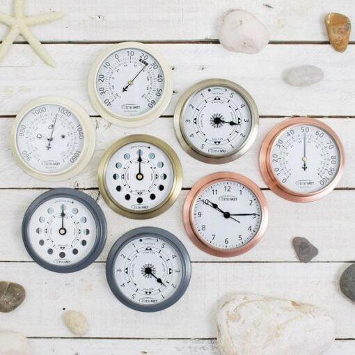 Tide clock, Thermometer, Barometer, Moon phase clock, Clock,