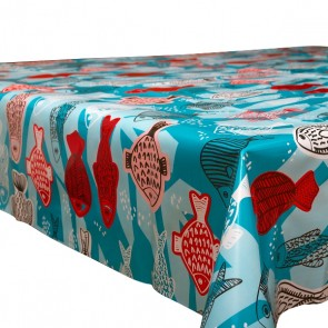 Oilcloth from Mexico with fish pattern