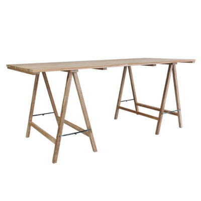 Teak trestle table