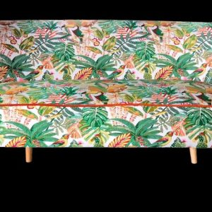 Sofa, banquette, exotic green, jungle fabric
