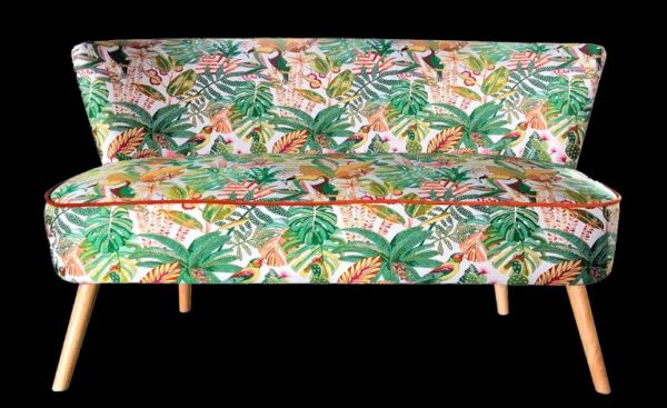 Sofa, banquette, exotic green, jungle fabric
