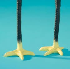 Yellow feet of long legs cast resin black candlesticks from the Netherlands