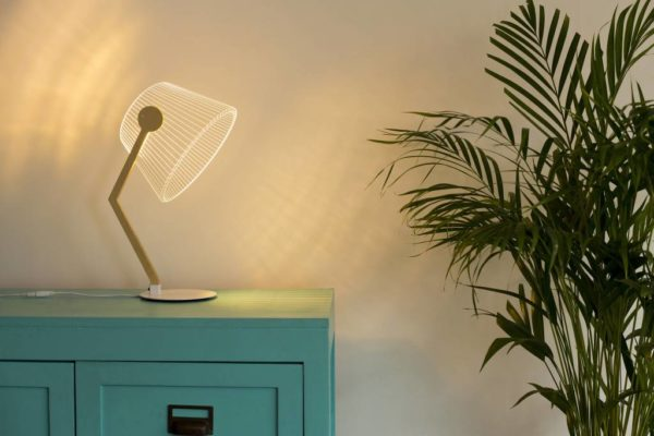 3-D, 3-dimensional table lamp, LED and acrylic lampshade, USB or plug-in, dimmer switch