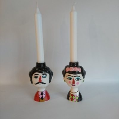 Marisol and Carlos Ceramic Candle Holder Pair