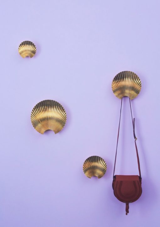 Decorative hangers in gold metal Art Deco style, hangers and hooks