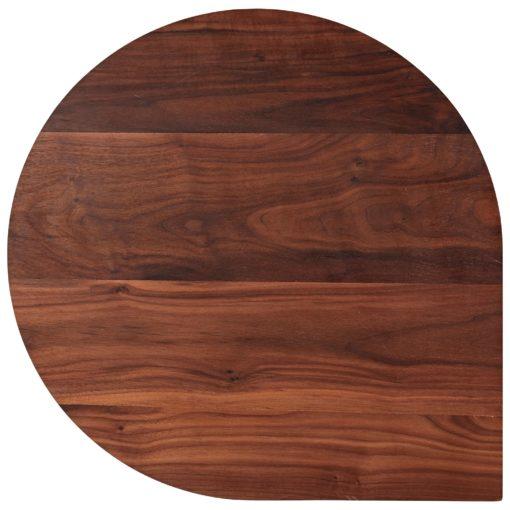 side table, walnut top, black metal legs, teardrop shape, Danish Design