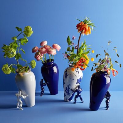 All my superhero vases, Delft Blue colours, glazed ceramic